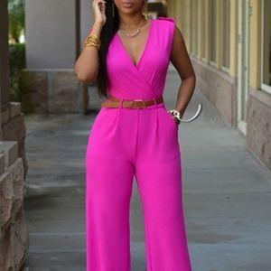 fashion Pants - Pants Suit Jumper with Belt - Sleeveless